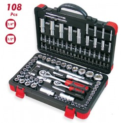 "MALETIN DOGHER TOOLS 108 PIEZAS 1/2"" Y 1/4"" VASOS HEXAGONALES CARRACAS 500-026"